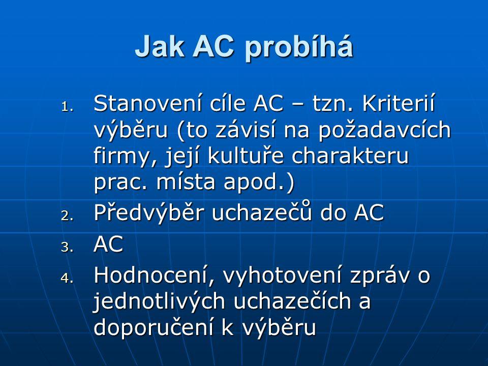 Jak AC probíhá Stanovení cíle AC – tzn. Kriterií výběru (to závisí na požadavcích firmy, její kultuře charakteru prac. místa apod.)