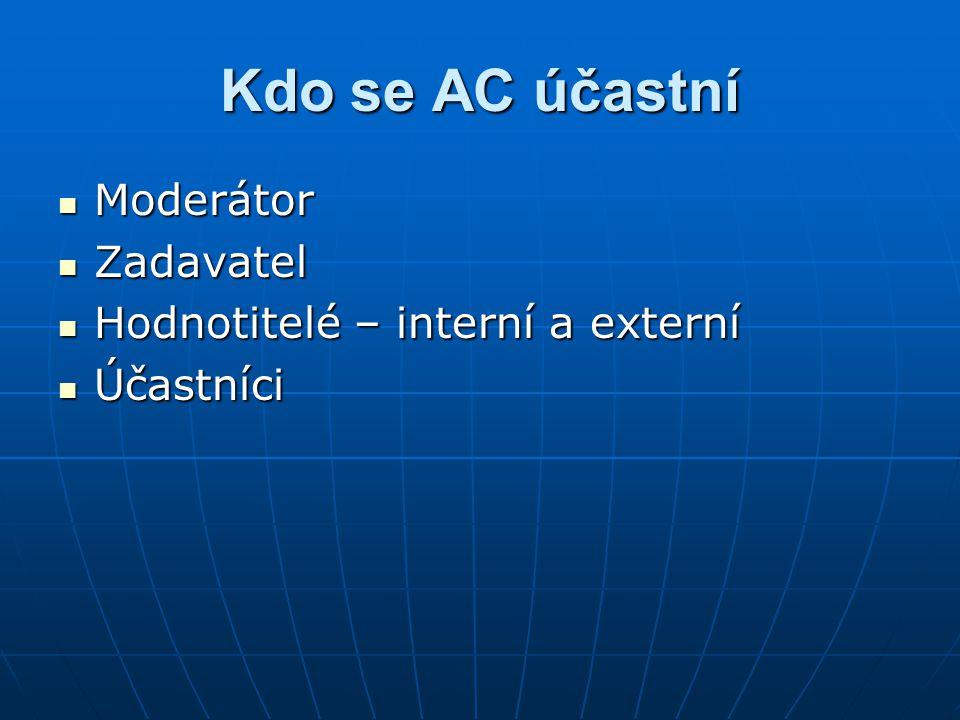 Kdo se AC účastní Moderátor Zadavatel Hodnotitelé – interní a externí