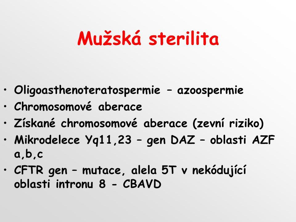 Mužská sterilita Oligoasthenoteratospermie – azoospermie