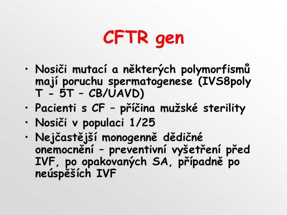 CFTR gen Nosiči mutací a některých polymorfismů mají poruchu spermatogenese (IVS8poly T - 5T – CB/UAVD)