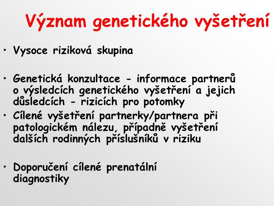 Význam genetického vyšetření
