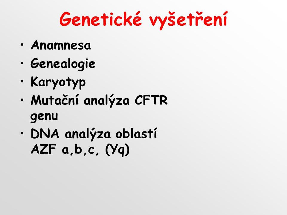 Genetické vyšetření Anamnesa Genealogie Karyotyp