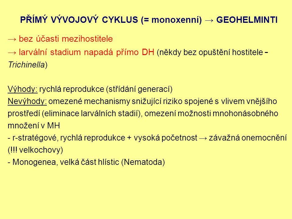 PŘÍMÝ VÝVOJOVÝ CYKLUS (= monoxenní) → GEOHELMINTI