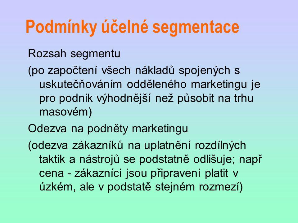 Podmínky účelné segmentace