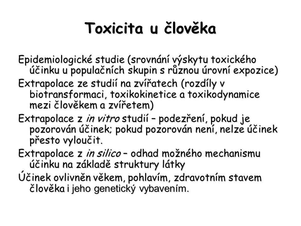 Toxicita u člověka Epidemiologické studie (srovnání výskytu toxického účinku u populačních skupin s různou úrovní expozice)