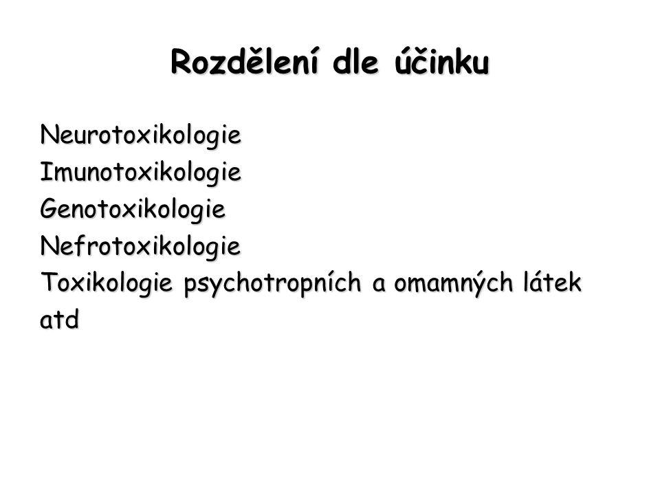 Rozdělení dle účinku Neurotoxikologie Imunotoxikologie Genotoxikologie