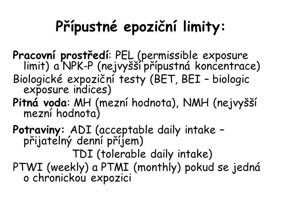Přípustné epoziční limity: