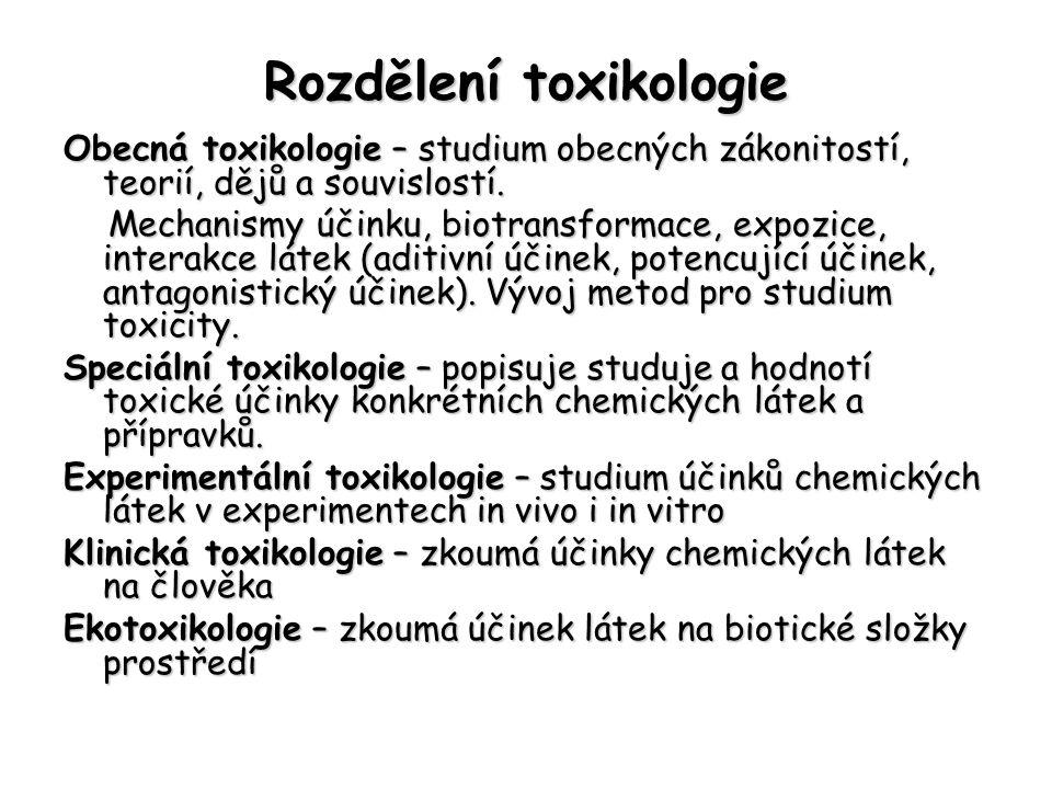 Rozdělení toxikologie