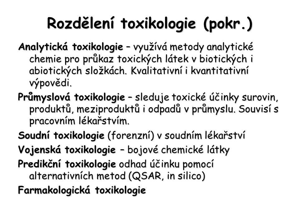 Rozdělení toxikologie (pokr.)