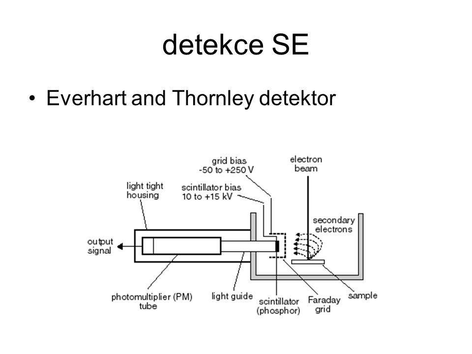 detekce SE Everhart and Thornley detektor