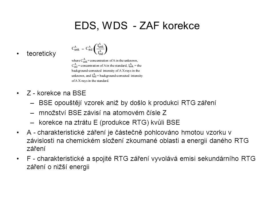 EDS, WDS - ZAF korekce teoreticky Z - korekce na BSE