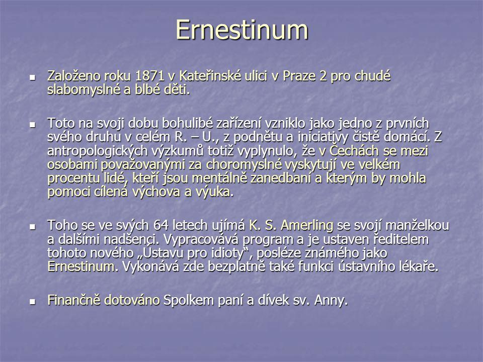 Ernestinum Založeno roku 1871 v Kateřinské ulici v Praze 2 pro chudé slabomyslné a blbé děti.