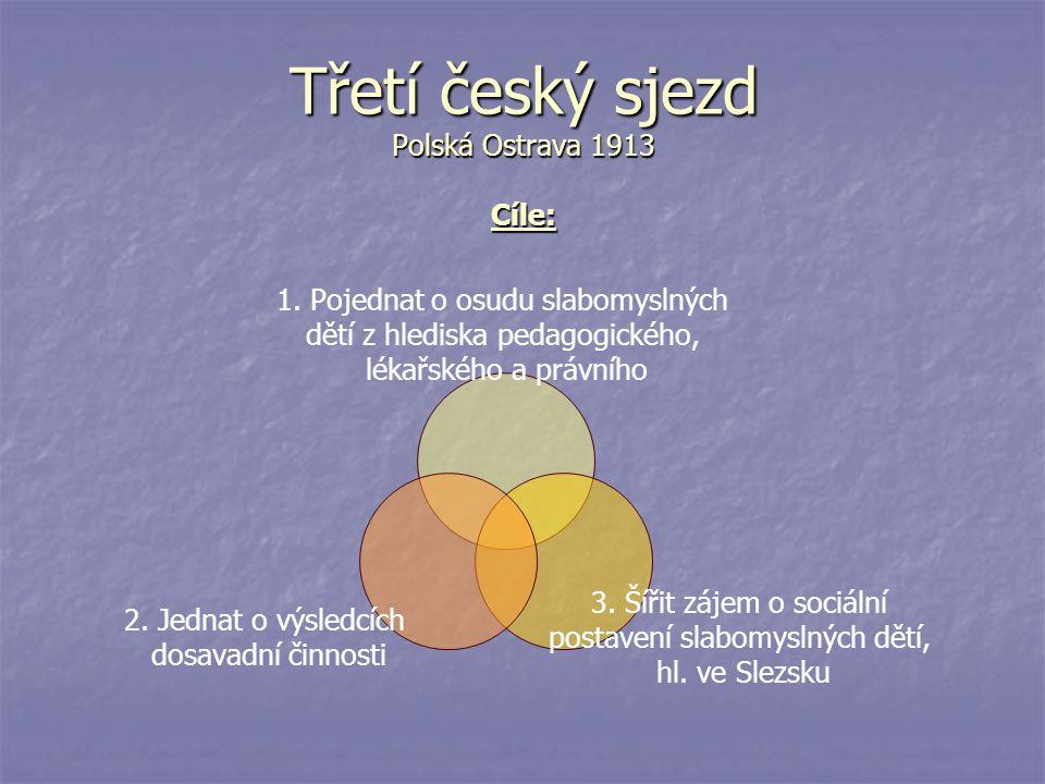 Třetí český sjezd Polská Ostrava 1913 Cíle: