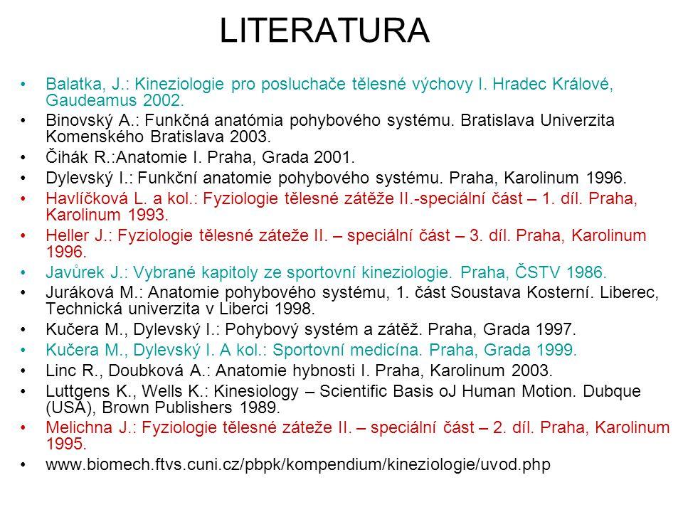 LITERATURA Balatka, J.: Kineziologie pro posluchače tělesné výchovy I. Hradec Králové, Gaudeamus 2002.