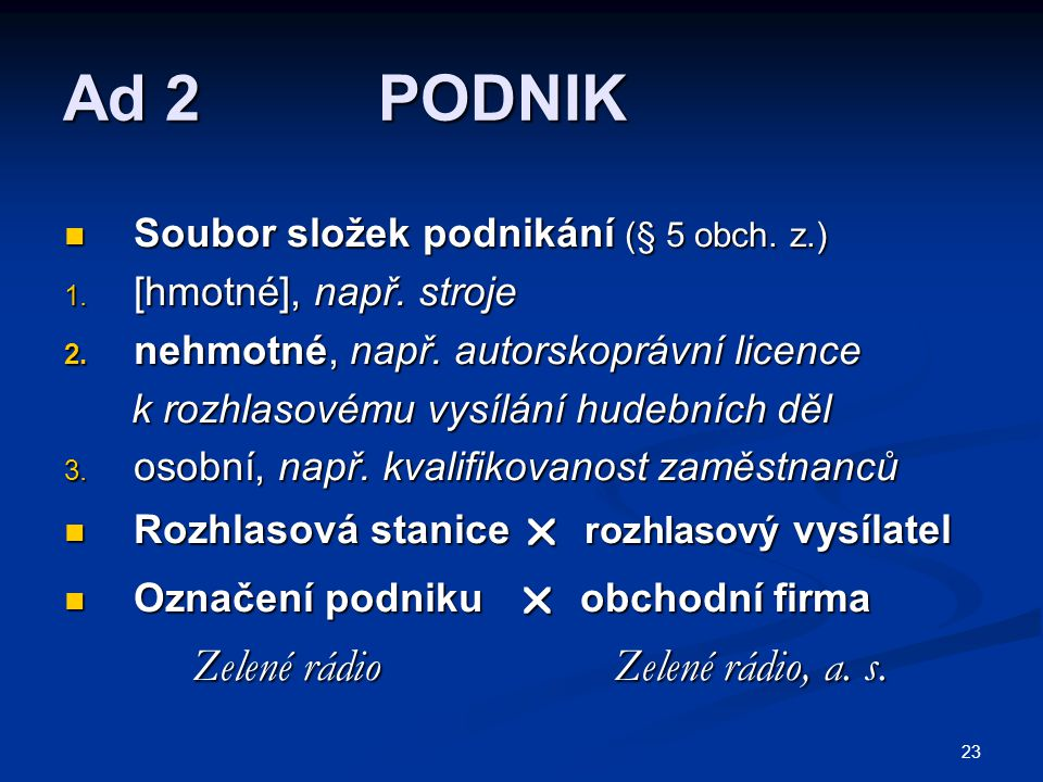 Ad 2 PODNIK Zelené rádio Zelené rádio, a. s.