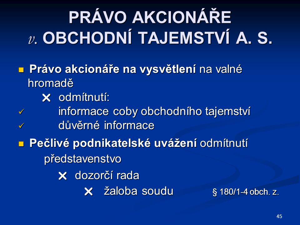 PRÁVO AKCIONÁŘE v. OBCHODNÍ TAJEMSTVÍ A. S.