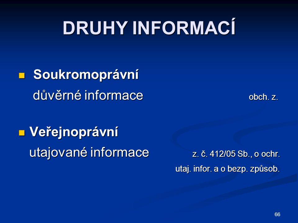 DRUHY INFORMACÍ Soukromoprávní důvěrné informace obch. z.