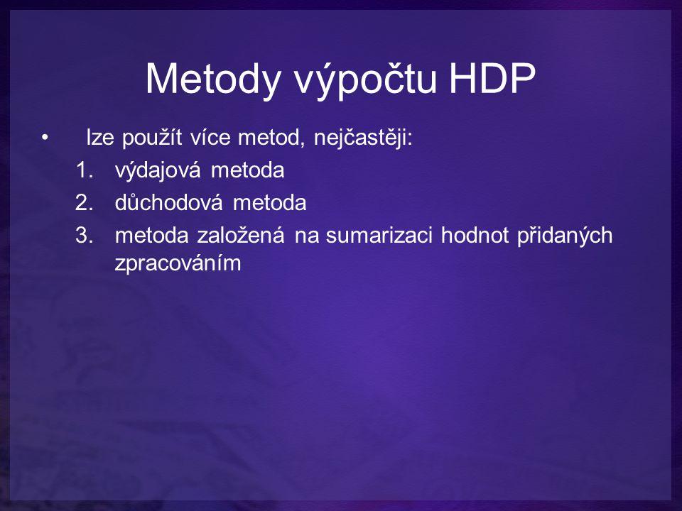 Metody výpočtu HDP lze použít více metod, nejčastěji: výdajová metoda