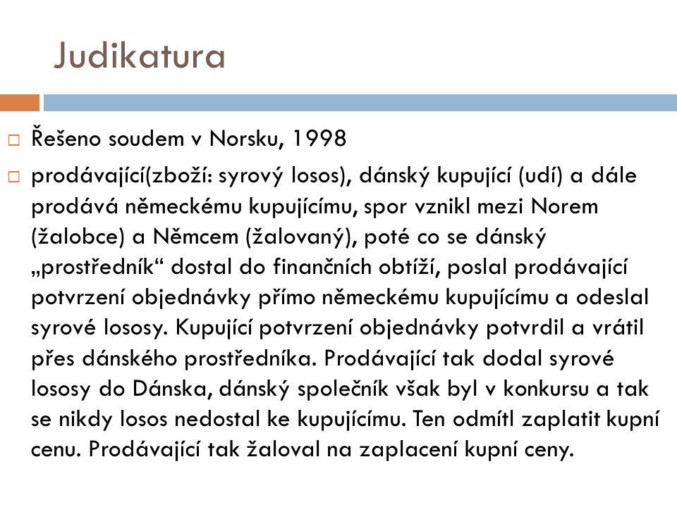 Judikatura Řešeno soudem v Norsku, 1998