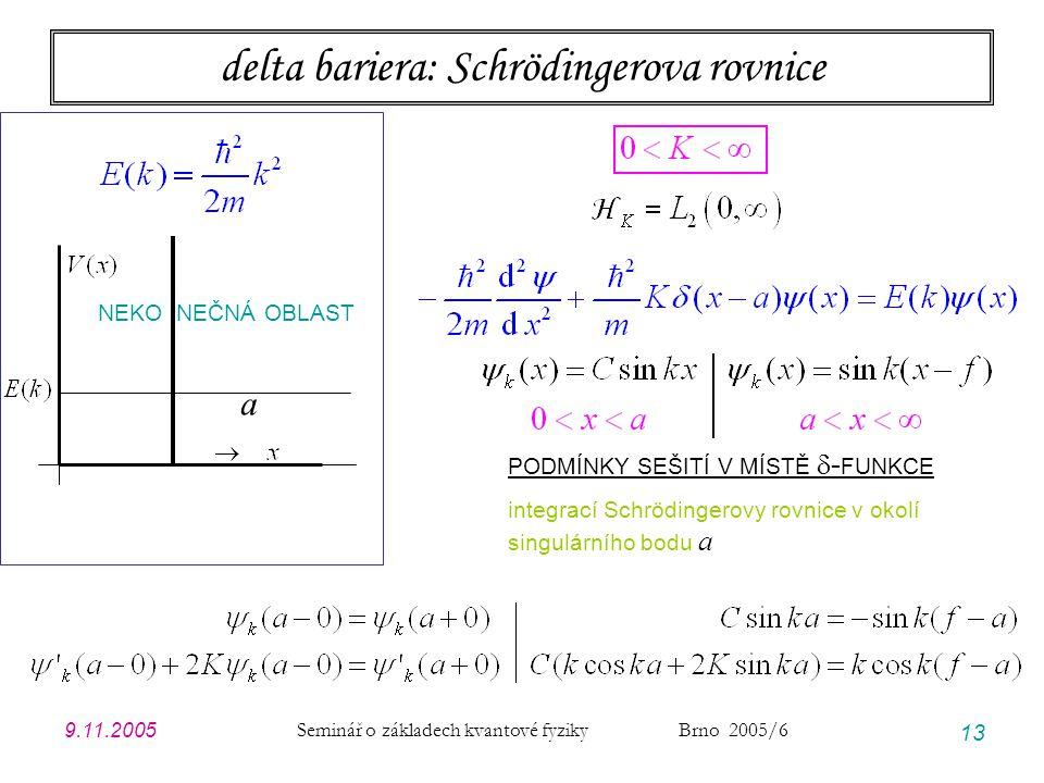 delta bariera: Schrödingerova rovnice