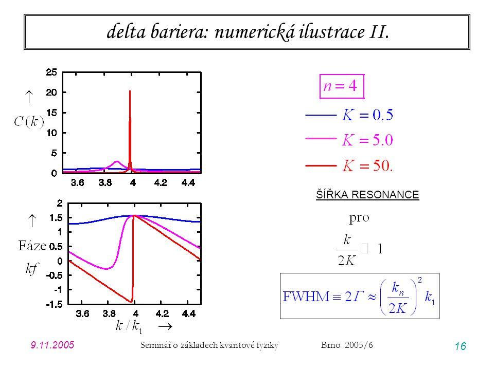delta bariera: numerická ilustrace II.