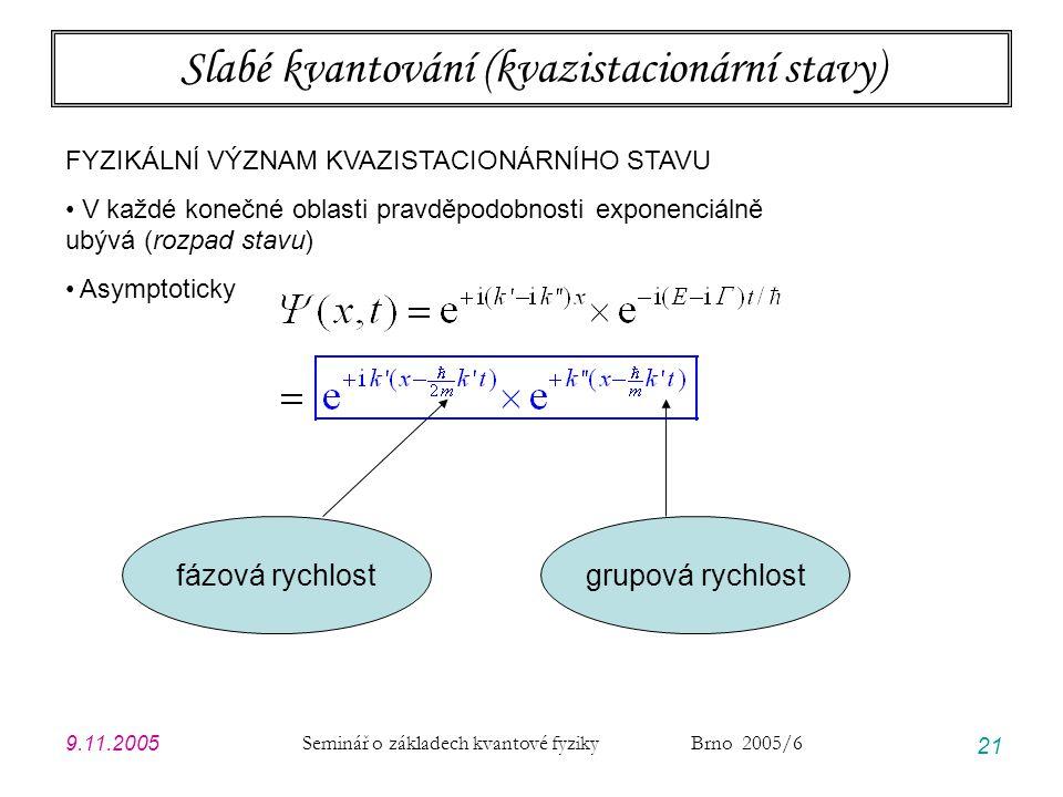 Slabé kvantování (kvazistacionární stavy)