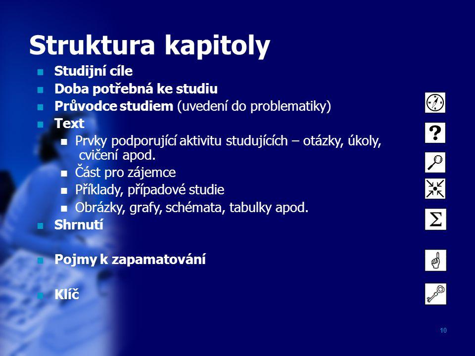 Struktura kapitoly Studijní cíle Doba potřebná ke studiu