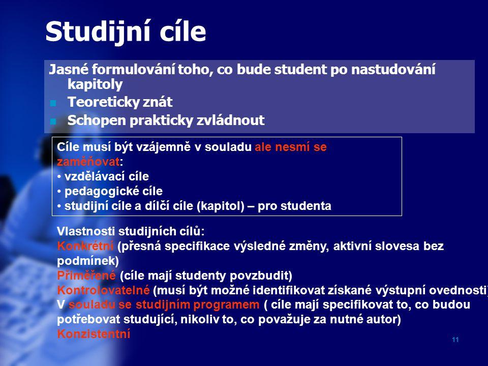 Studijní cíle Jasné formulování toho, co bude student po nastudování kapitoly. Teoreticky znát. Schopen prakticky zvládnout.