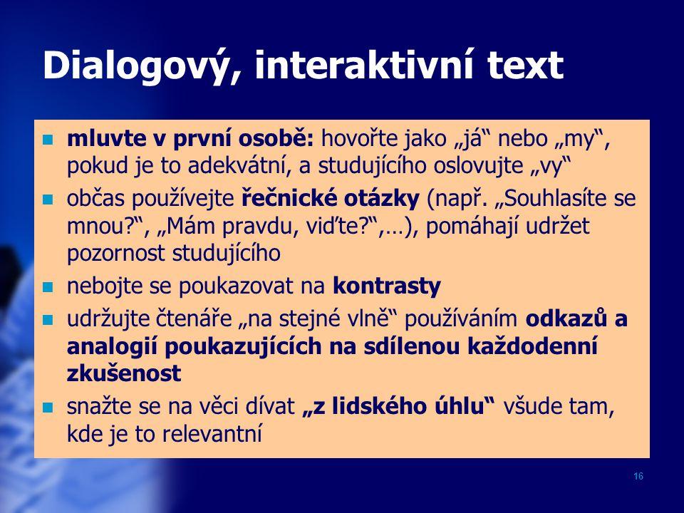 Dialogový, interaktivní text
