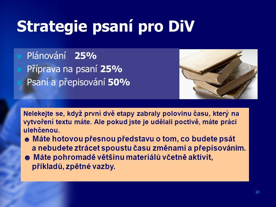Strategie psaní pro DiV