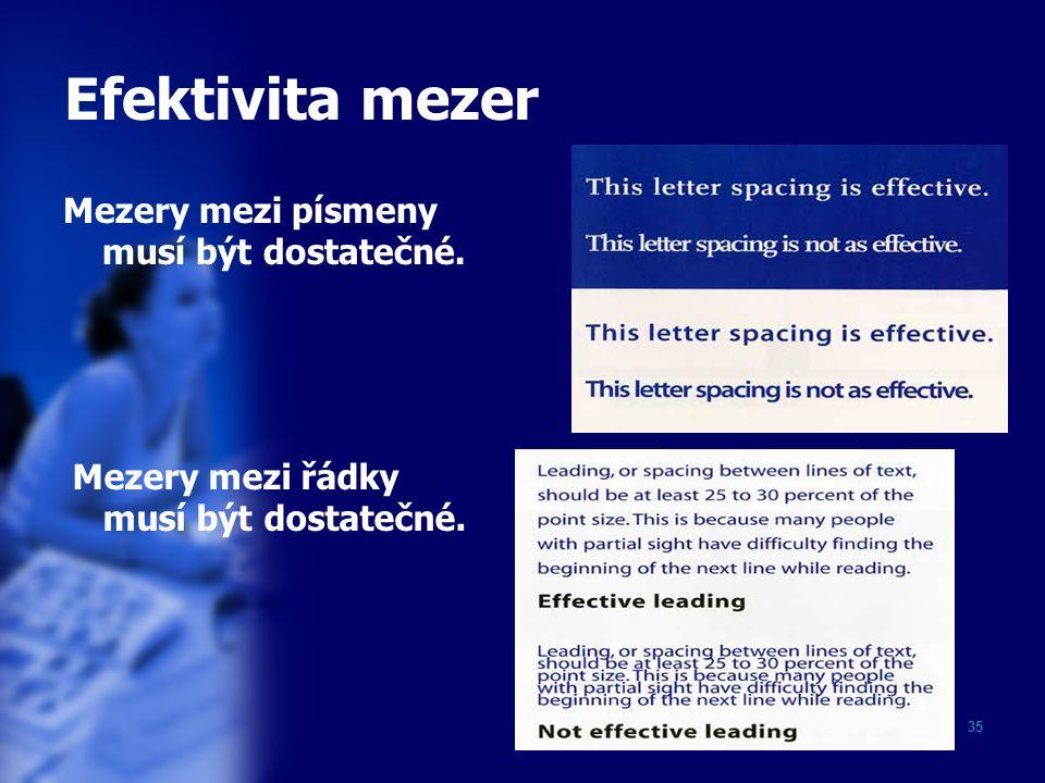 Efektivita mezer Mezery mezi písmeny musí být dostatečné.