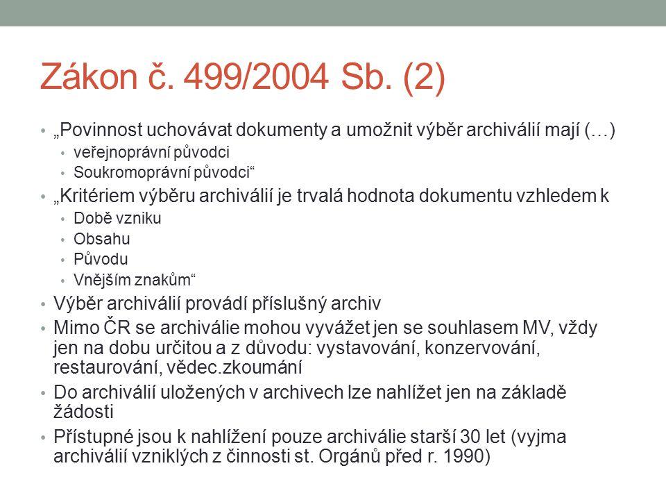 """Zákon č. 499/2004 Sb. (2) """"Povinnost uchovávat dokumenty a umožnit výběr archiválií mají (…) veřejnoprávní původci."""