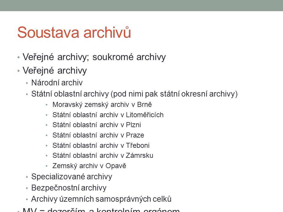 Soustava archivů Veřejné archivy; soukromé archivy Veřejné archivy