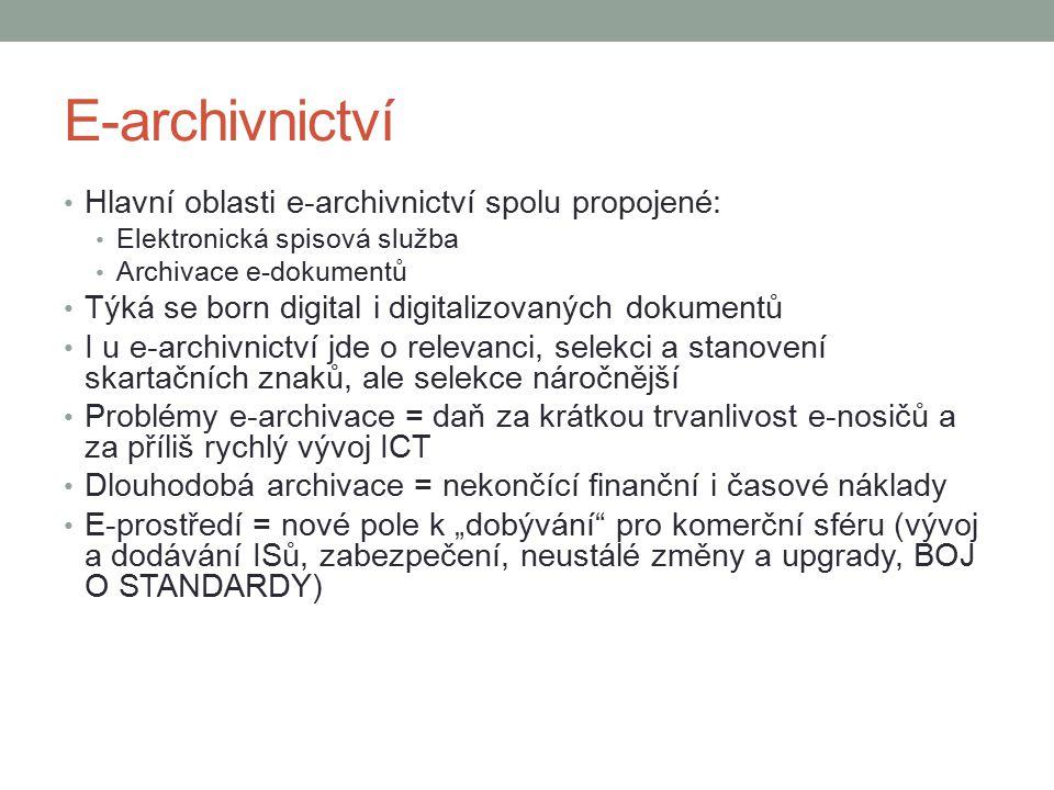 E-archivnictví Hlavní oblasti e-archivnictví spolu propojené: