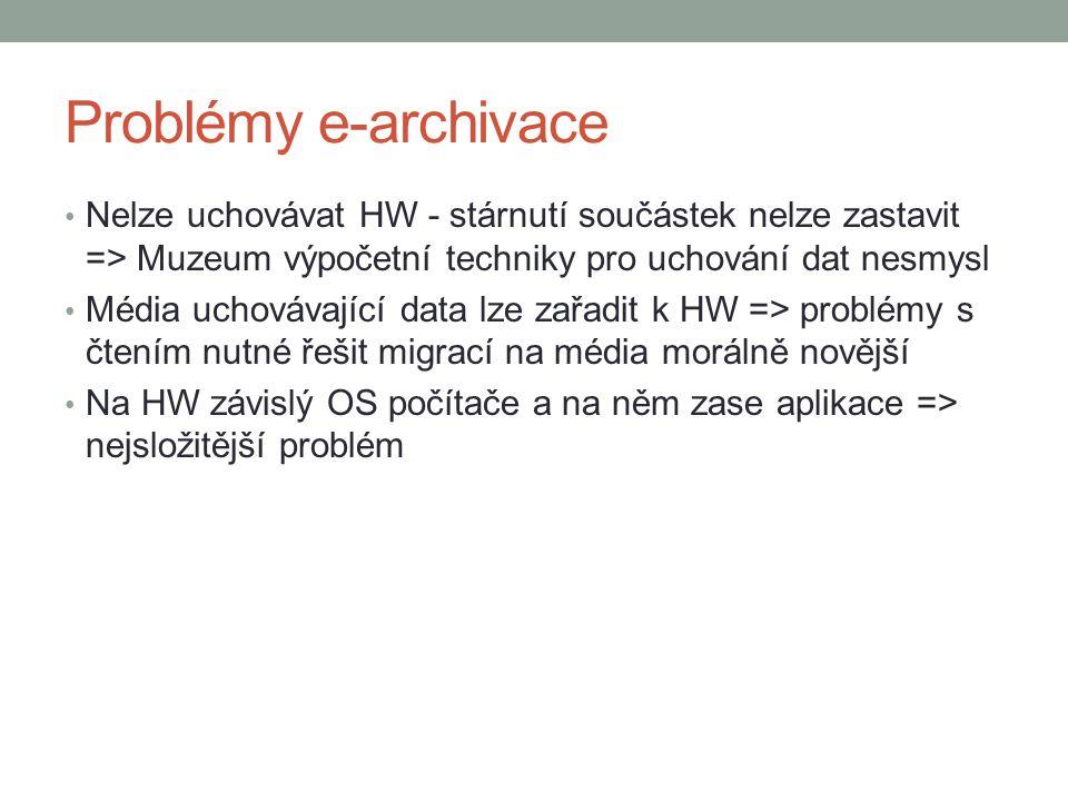 Problémy e-archivace Nelze uchovávat HW - stárnutí součástek nelze zastavit => Muzeum výpočetní techniky pro uchování dat nesmysl.