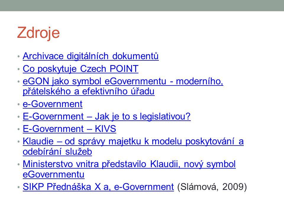 Zdroje Archivace digitálních dokumentů Co poskytuje Czech POINT