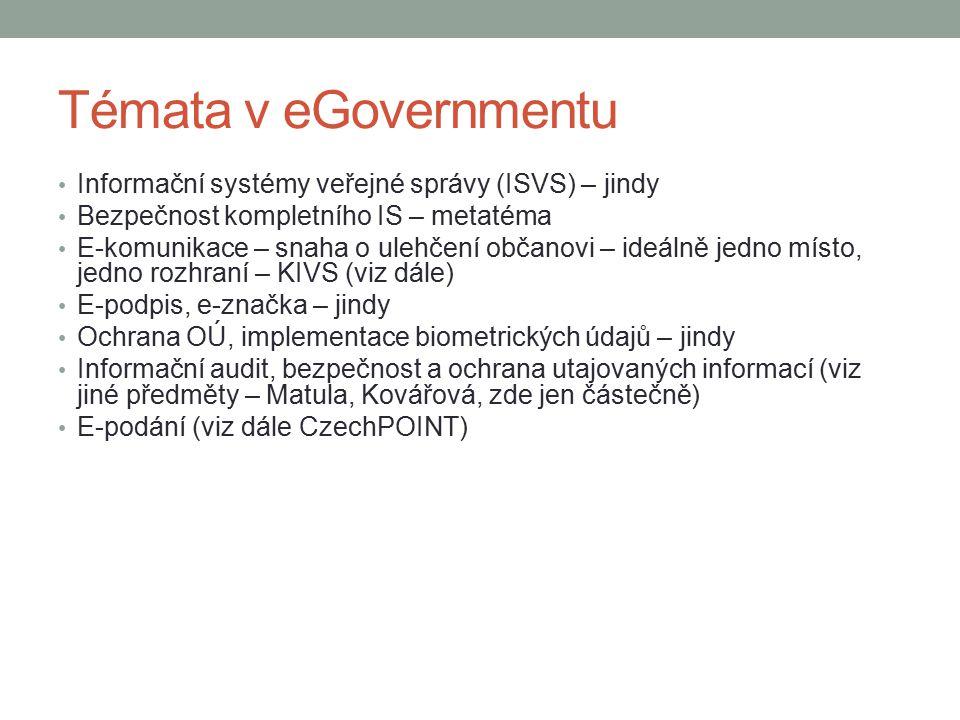 Témata v eGovernmentu Informační systémy veřejné správy (ISVS) – jindy