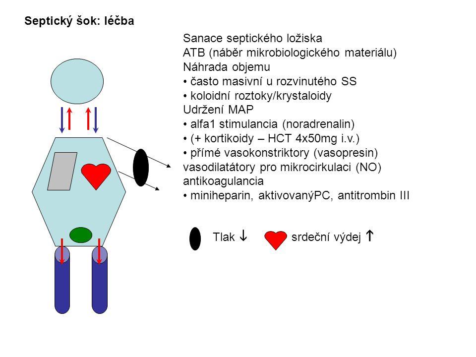 Septický šok: léčba Sanace septického ložiska. ATB (náběr mikrobiologického materiálu) Náhrada objemu.