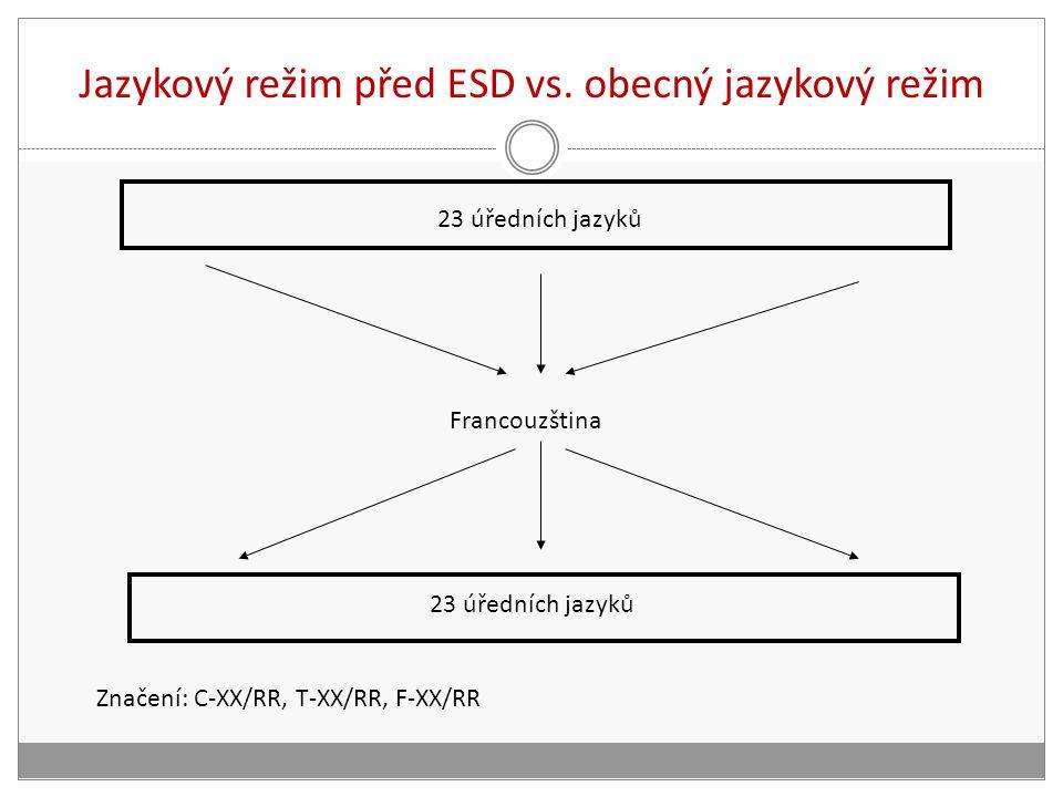 Jazykový režim před ESD vs. obecný jazykový režim