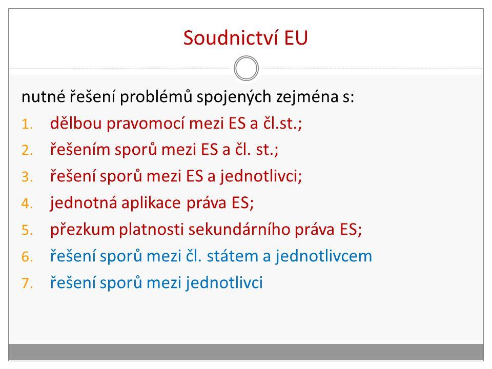 Soudnictví EU nutné řešení problémů spojených zejména s: