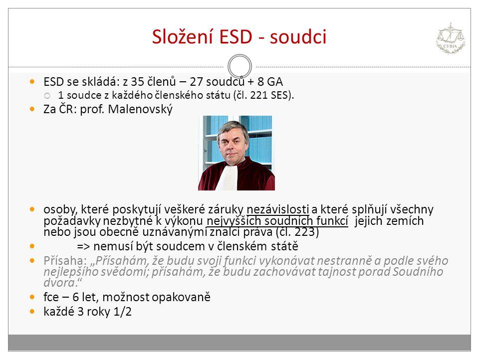 Složení ESD - soudci ESD se skládá: z 35 členů – 27 soudců + 8 GA