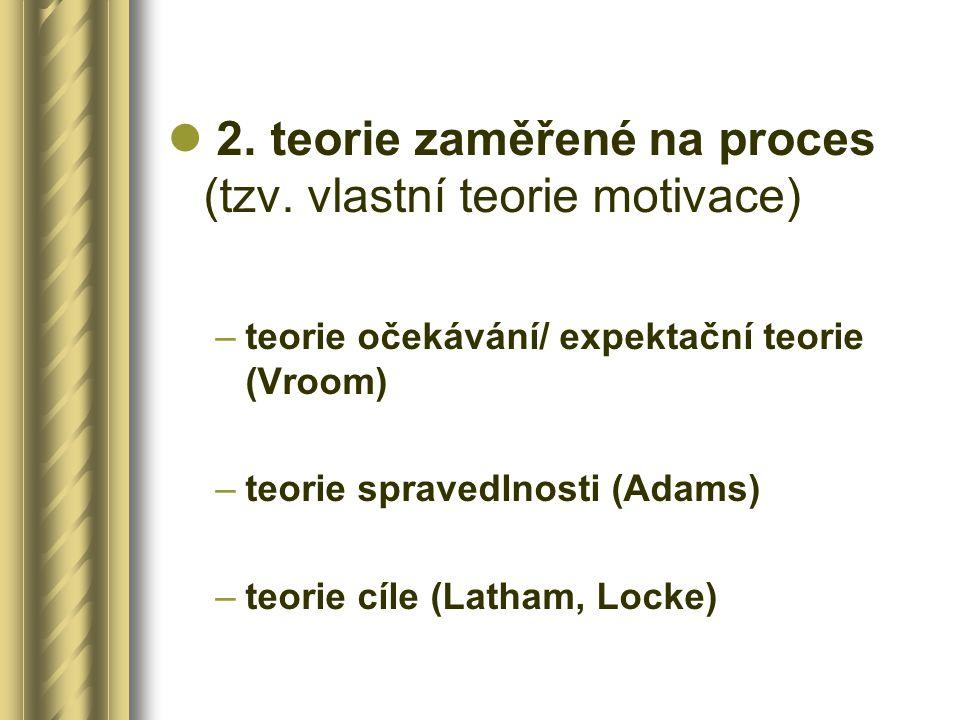 2. teorie zaměřené na proces (tzv. vlastní teorie motivace)
