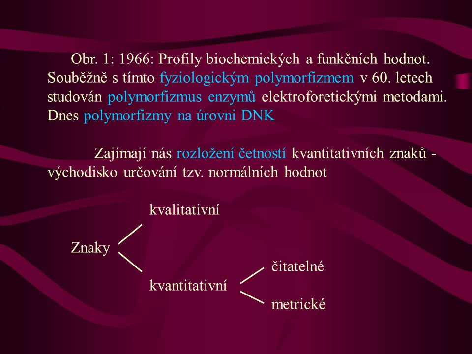 Obr. 1: 1966: Profily biochemických a funkčních hodnot