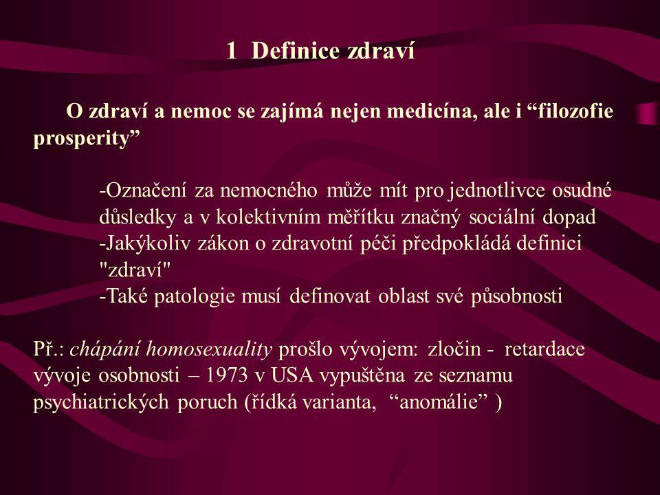 1 Definice zdraví O zdraví a nemoc se zajímá nejen medicína, ale i filozofie prosperity