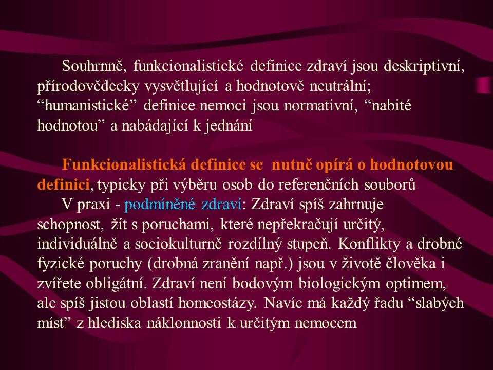 Souhrnně, funkcionalistické definice zdraví jsou deskriptivní, přírodovědecky vysvětlující a hodnotově neutrální; humanistické definice nemoci jsou normativní, nabité hodnotou a nabádající k jednání