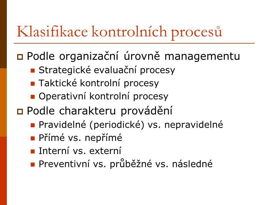 Klasifikace kontrolních procesů