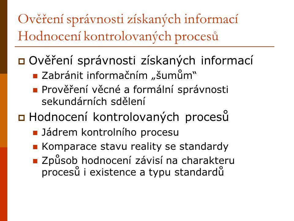 Ověření správnosti získaných informací Hodnocení kontrolovaných procesů