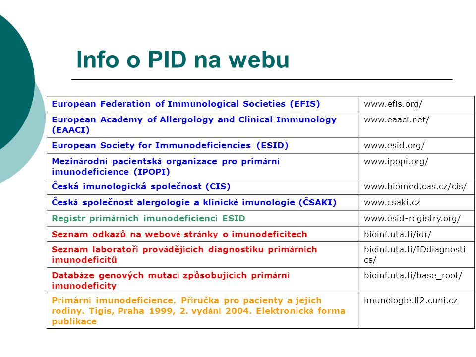 Info o PID na webu European Federation of Immunological Societies (EFIS) www.efis.org/