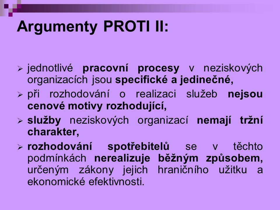 Argumenty PROTI II: jednotlivé pracovní procesy v neziskových organizacích jsou specifické a jedinečné,