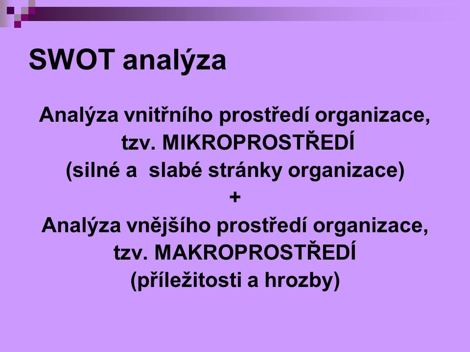 SWOT analýza Analýza vnitřního prostředí organizace,